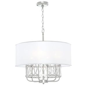 World Imports Venn 6-Light Brushed Nickel Chandelier with White Fabric Shade. BRAND NEW! for Sale in Fort Lauderdale, FL