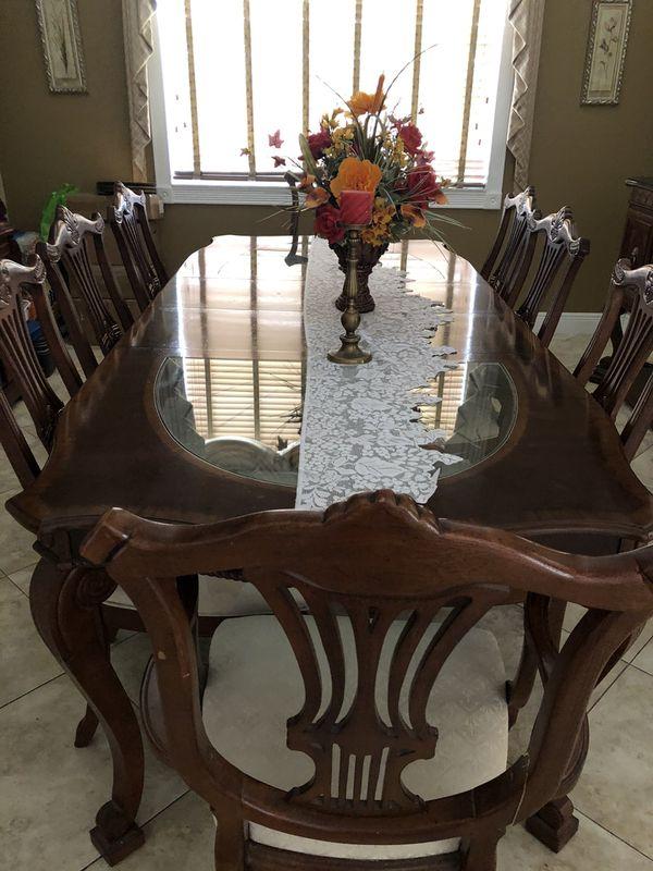 8 piece dining room set w/ China cabinet, hallway table with granite top, mirror from El Dorado