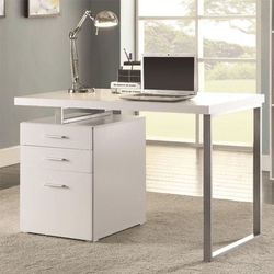 Modern Writing Desk With File Cabinet , White, Cappuccino Or Grey Color Available for Sale in Hacienda Heights,  CA
