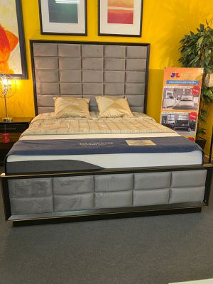 New!! Cal.king Gray modern Bed with Memory foam Mattress•Same day Delivery 🚚 • 90 days 0% financing available for Sale in Las Vegas, NV