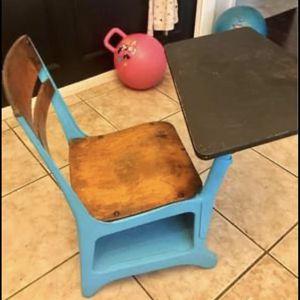 Vintage School Desk Teal Blue for Sale in Houston, TX