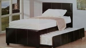 Twin Dark Espresso New Platform Bed with Trundle for Sale in Denver, CO