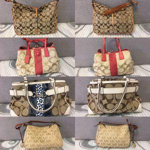 "Women's authentic handbags/purses - Coach Bag $29.99 ~Authentic coach sand and salmon kiss lock ""mint"" $49.99 ~ authentic coach Hampton large signatur for Sale in Tampa, FL"