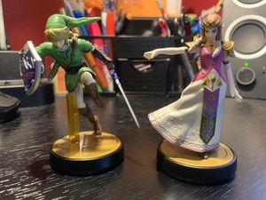 Princess Zelda & Link Nintendo Switch Smash Bros. Amiibos for Sale in Monroeville, PA