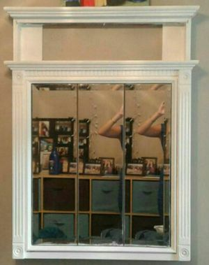 White wooden Wall mirror/cupboard for Sale in Charlotte, NC