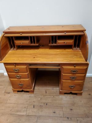 Solid Oak wood roll Desk for Sale in Spring, TX