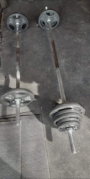 Straight bar curl bar and weights for Sale in Saginaw, TX
