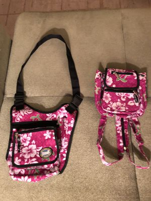 2 matching Hawaii spirit islands 🌴 messenger bag & backpack mom? & daughter? pink flower 🌺 hibiscus turtles Price is for both for Sale in Portland, OR