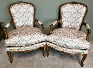 Pair of Vintage French Provincial Louis XV Hand Carved Wood Bergere Armchairs 19.5.25 for Sale in Palm Springs, FL