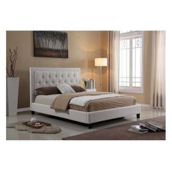 White Faux Leather Platform Bed Frame for Sale in Chino Hills,  CA