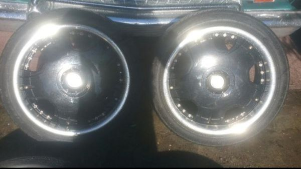 "18"" BSA Black and Chrome Rims with Tires"