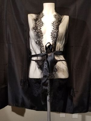 Black Lace Robe and Thong Lingerie Set for Sale in Carlsbad, CA