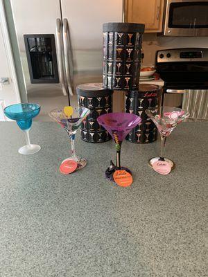 3 New Glass Handpainted Lolita Martini Glasses 7 Oz W/Free Acrylic Martini Glass for Sale in Tampa, FL