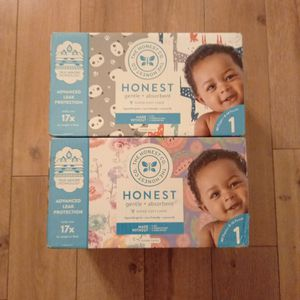 Honest Company Printed Diapers 2 Boxes Of 80 - Advanced Leak Protection- Size 1 For Babies 8-14 Lbs for Sale in Henderson, NV