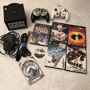 Nintendo gamecube system console with 6 video games controllers cables clean tested works retro gaming classic vintage for Sale in Burtonsville, MD