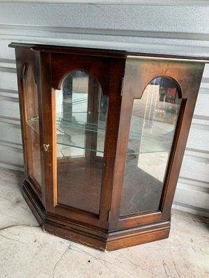 Small wood w/ glass shelf mirrored curio display cabinet for Sale in Lewisville, TX
