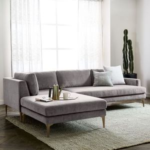 West Elm Andes Sectional Couch in Grey Velvet for Sale in San Francisco, CA