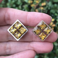 vintage Gold Tone Citrine Studs Screw Earrings for Sale in Plano,  TX