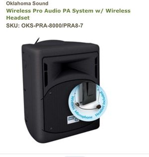Wireless pro audio PA system with wireless headset Oklahoma sound for Sale in Saint AUG BEACH, FL