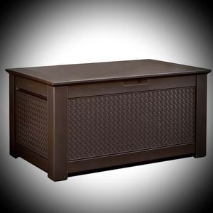 New Rubbermaid Patio Chic 93 Gal. Resin Basket Weave Patio Storage Bench Deck Box in Brown ☆Retail Price: $130 +Tax☆ for Sale in Phoenix, AZ