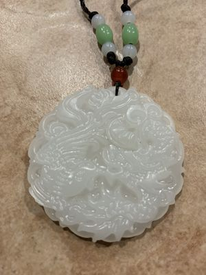 New White Jade Dragon phoenix Pendant Necklace Charm Jewelry Lucky Amulet for Sale in Fresno, CA