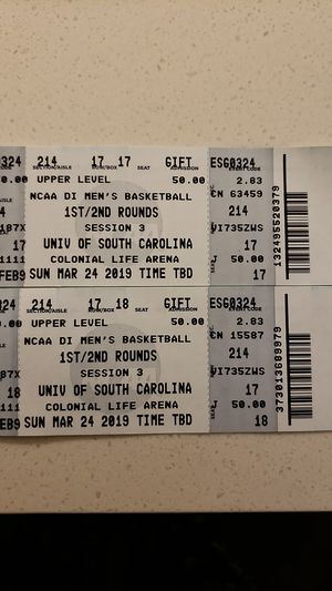 NCAA basketball tournament 1st round session 3 in Columbia SC for Sale in Columbia, SC