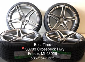 """19"""" staggered Mercedes Benz wheels and tires new Package deal 1295.00 Best Tires 📍33733 Groesbeck Hwy Fraser, MI 48026 {contact info removed} julian📱 for Sale in Sterling Heights, MI"""