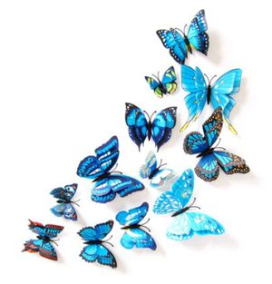 12pcs BLUE 3D Bright Color Butterflies Home Office Wall Decor DIY 3D Stickers for Sale in Ontario, CA