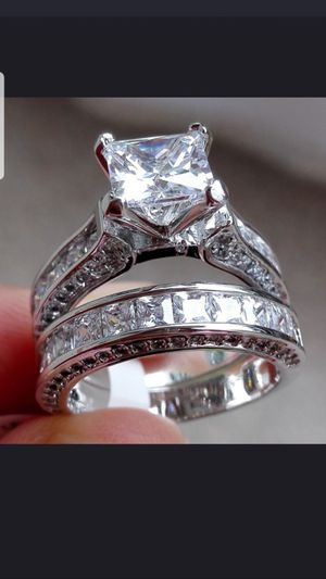 Sterling silver white sapphire ring set sizes 7&9 for Sale in Dundalk, MD