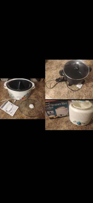 Hamilton Beach slow cooker+steamer rice cooker+presto multicooker/crock pot for Sale in Tempe, AZ