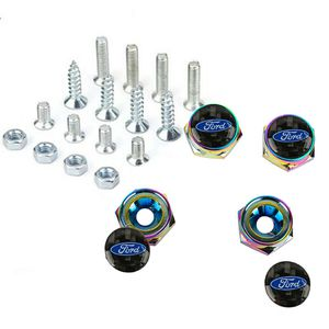 BRAND NEW 4PCS NEO CHROME LICENSE PLATE BOLTS WITH FORD REAL CARBON FIBER EMBLEM for Sale in City of Industry, CA