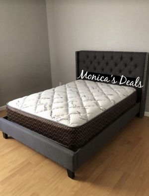Queen grey blue bed & bamboo mattress $300 for Sale in Los Angeles, CA