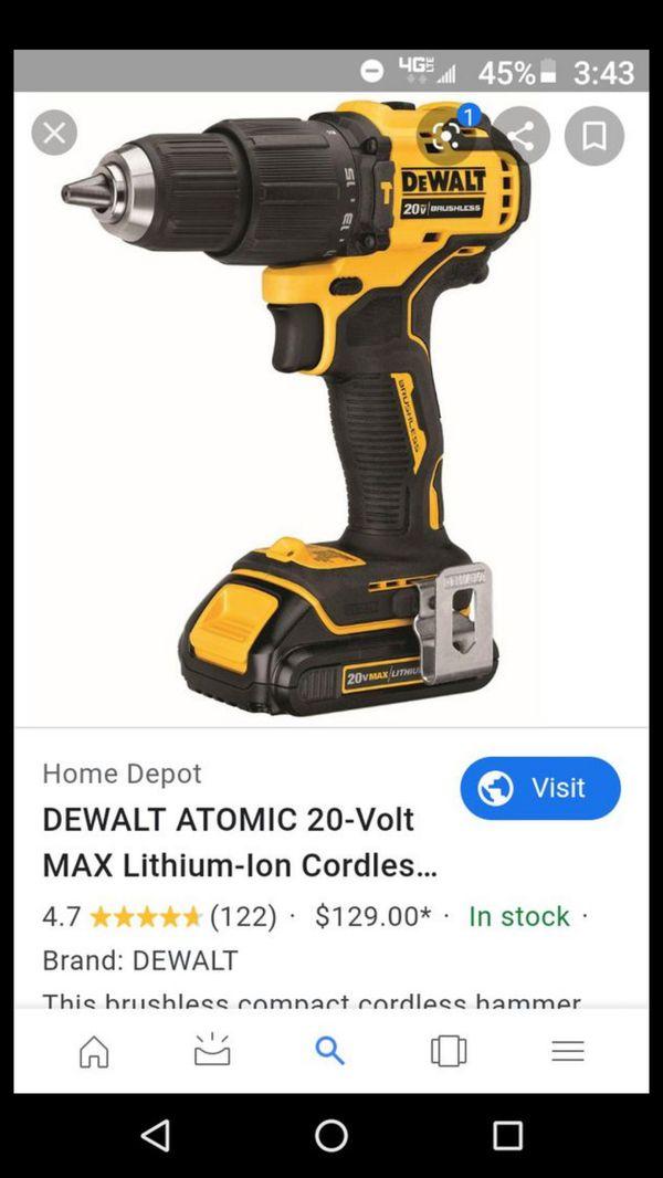 DeWalt atomic 20v brushless lithium ion hammer drill