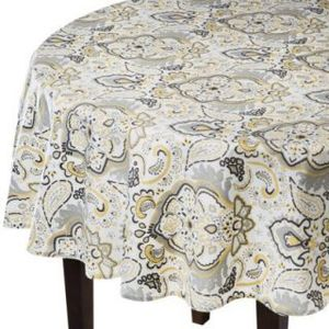 Threshold Paisley Grey/Yellow 70-Inch Round Tablecloth (Brand New) for Sale in Seattle, WA