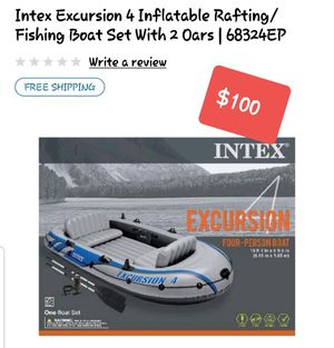 4 person strong inflatable boat with oars and fishing pole holders for Sale in Merced, CA