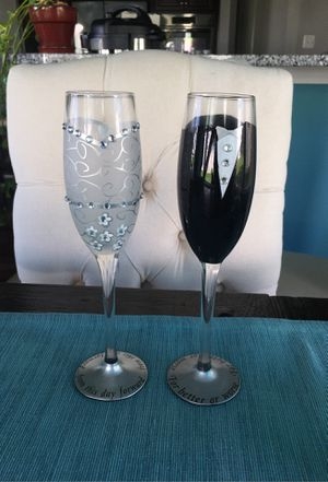Hand Painted Champagne Flutes $20 for Sale in Washington, DC