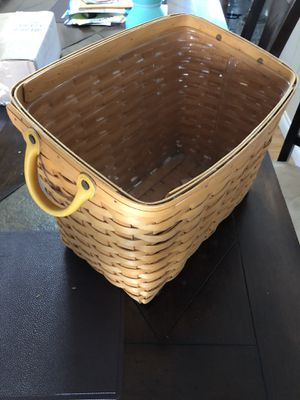 Longaberger basket w/yellow handles handwoven in Ohio for Sale in Westminster, CA