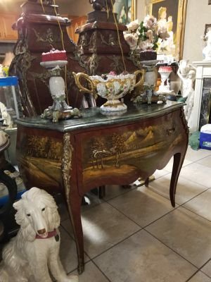 Beautiful antique bombay furniture w marble top and hand painted. for Sale in Tampa, FL