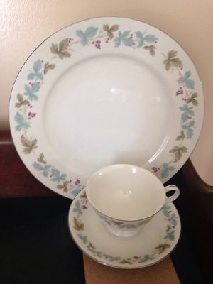 Grape and vine pattern china trimmed in silver for Sale in Martinsburg, WV