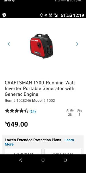 new in box Craftsman 2200 watt generator for Sale in Philadelphia, PA