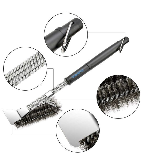 """Grill Brush with Scraper Best BBQ Brush for Grill, 360° Clean 18"""" Stainless Steel Barbecue Brush, Safe for Porcelain, Ceramic"""