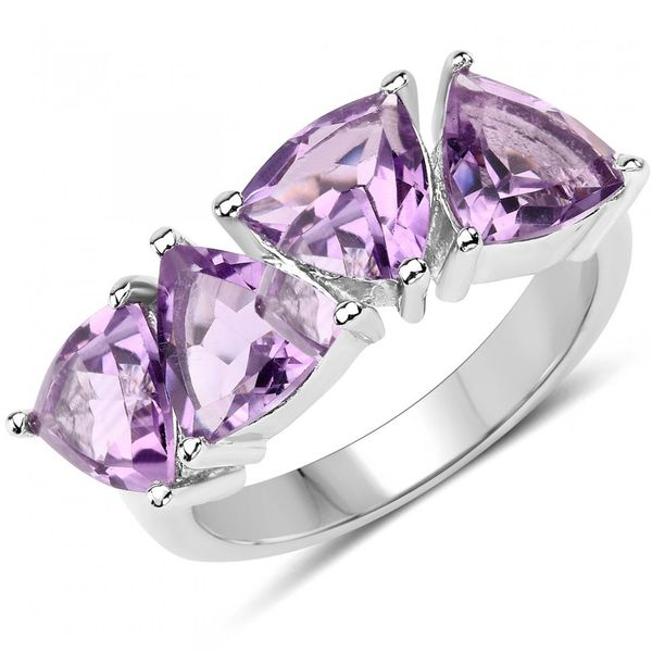 3.6 Ctw Trillion Cut Amethyst Ring Size 7. Weddings, Anniversary Or Special Occasion