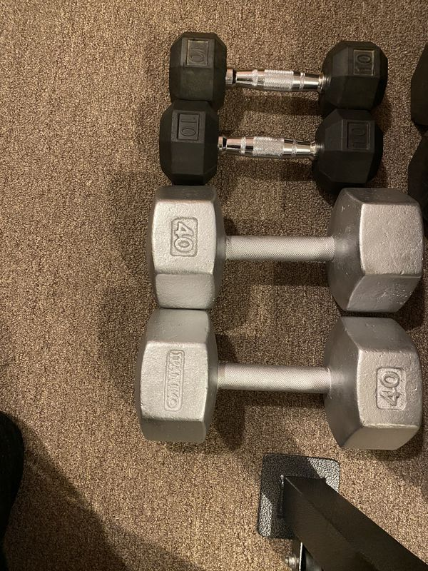 Dumbbells pair of 40lbs and 10lbs