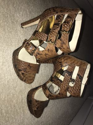 Michael Kors Stiletto Sandals Brown Faux Snakeskin Worn Only Once for Sale in Murfreesboro, TN