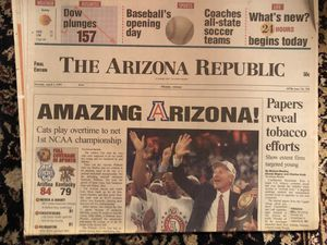 U of A wins 1st NCAA Championship , April 1, 1997 Arizona Republic newspaper for Sale in Glendale, AZ