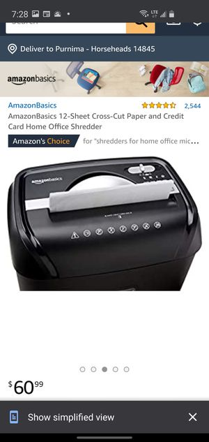 AmazonBasics 12-Sheet Cross-Cut Paper and Credit Card Home Office Shredder for Sale in Horseheads, NY