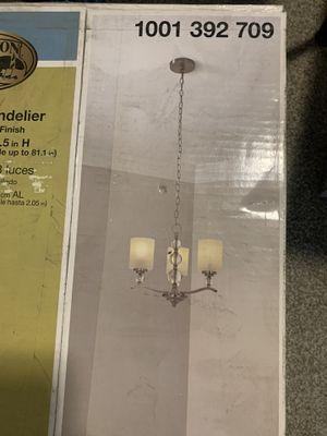 Hampton bay 3 light chandelier brushed nickel finish for Sale in Arvada, CO