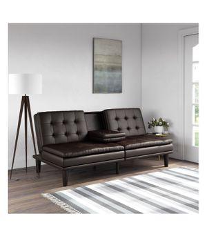 Dark Brown Sofa Futon with Cupholder (Autumn Big Sale!!) for Sale in Houston, TX