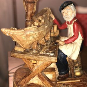 1978 Original Chalkware Boatmaker Lamp for Sale in Newtown, CT