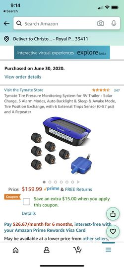 Tymate tire pressure monitoring system for Sale in Royal Palm Beach,  FL